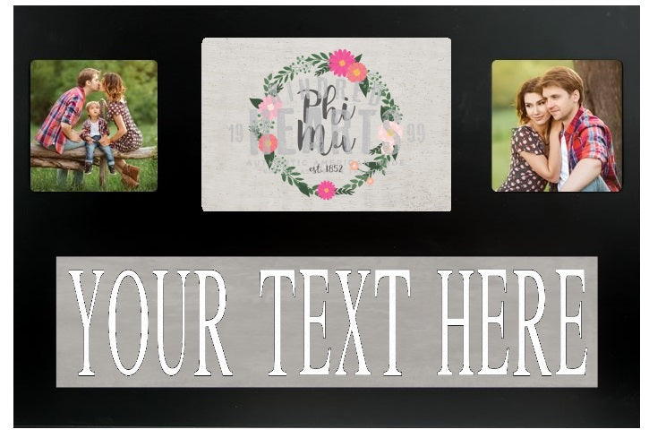 Phi Mu Floral Custom Picture Frame