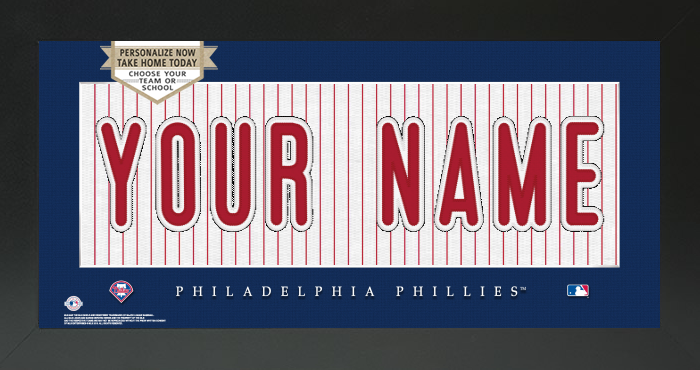 Philadelphia Phillies MLB Jersey Nameplate Custom Framed Sign