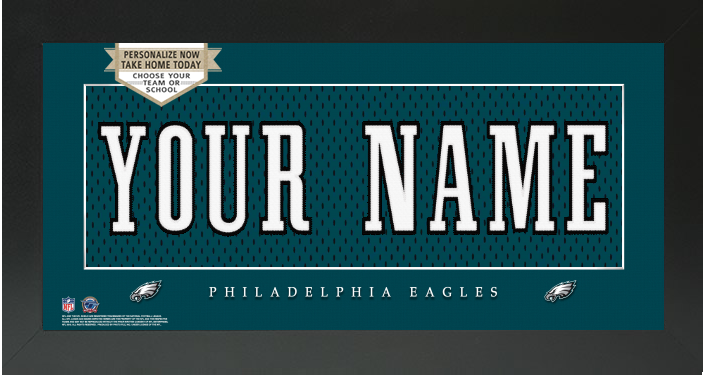 Philadelphia Eagles NFL Jersey Nameplate Custom Framed Sign