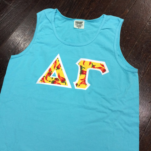 Sewn-Letter Comfort Colors Tank Top