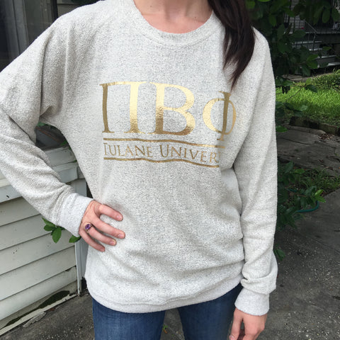 Cozy Fleece Sweatshirt with Classic Bar Design