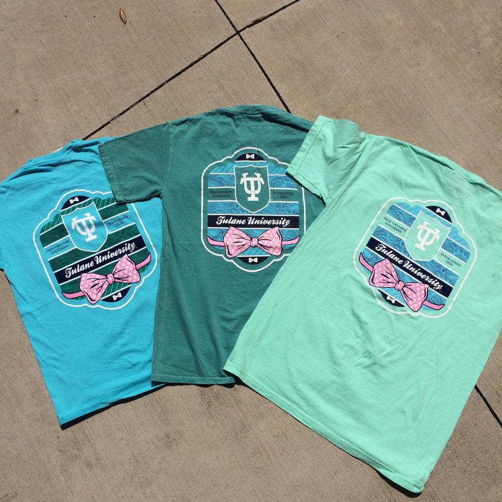 Tulane Bowtie Comfort Colors Pocket Tee - Campus Connection - Campus Connection - 1