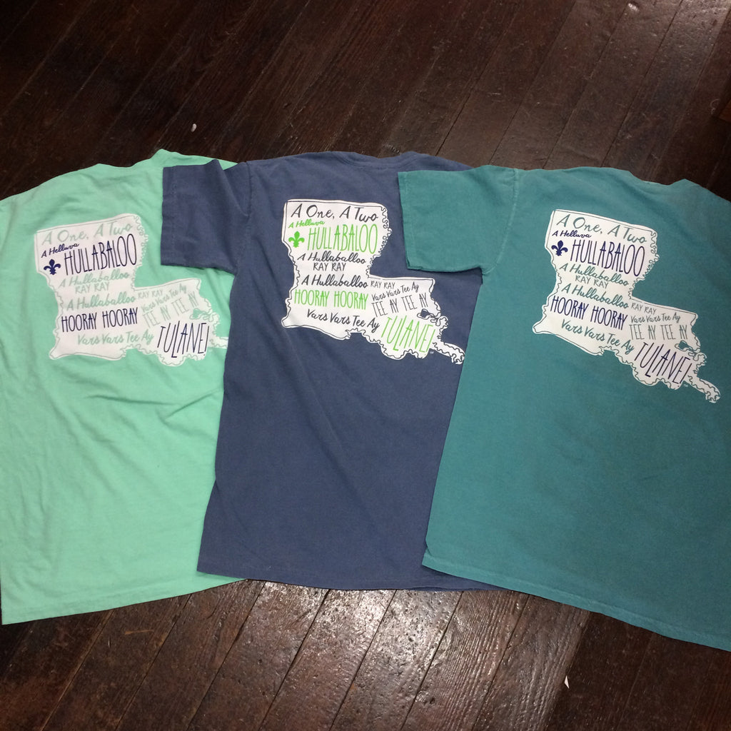 Tulane Hullabaloo Louisiana Comfort Colors Pocket Tee - Campus Connection - Campus Connection - 1