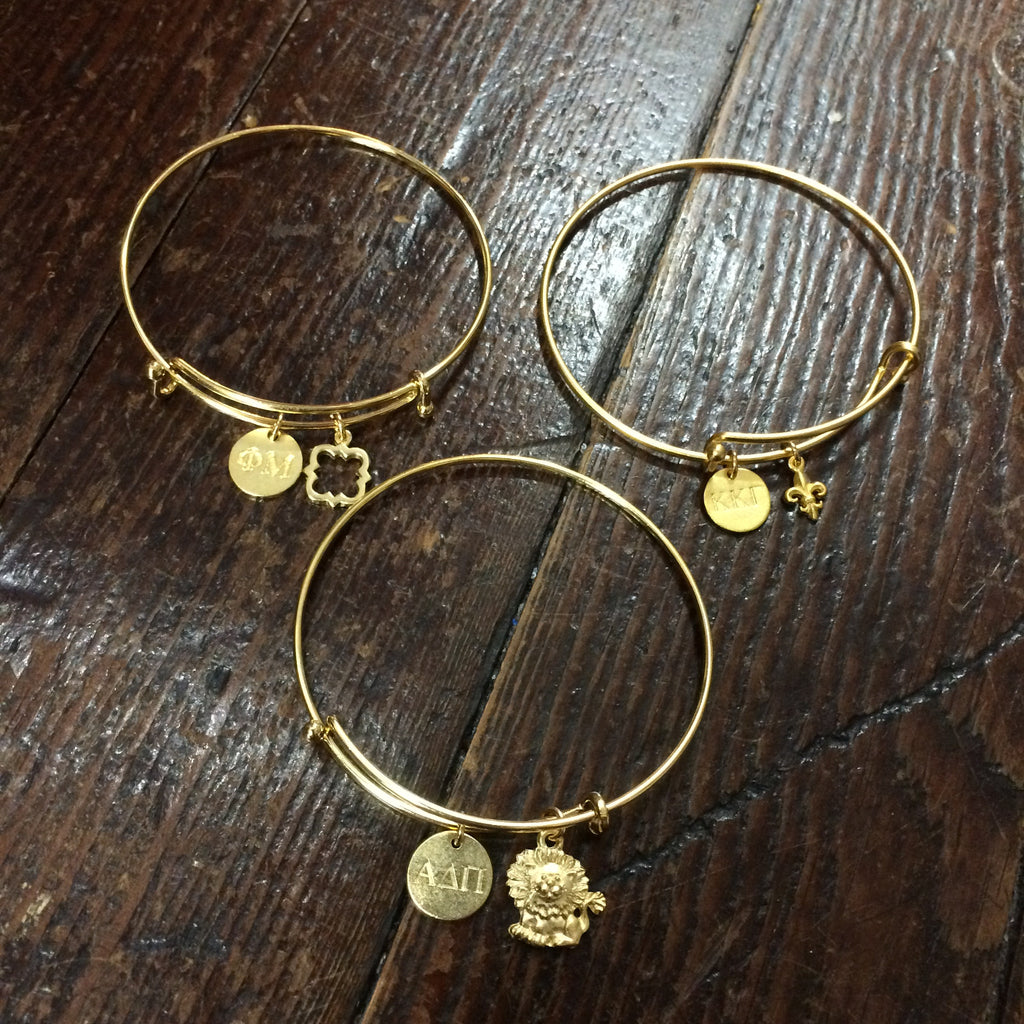 Sorority Charm Bracelet - Gold - Shawn Paul Jewelry - Campus Connection - 1