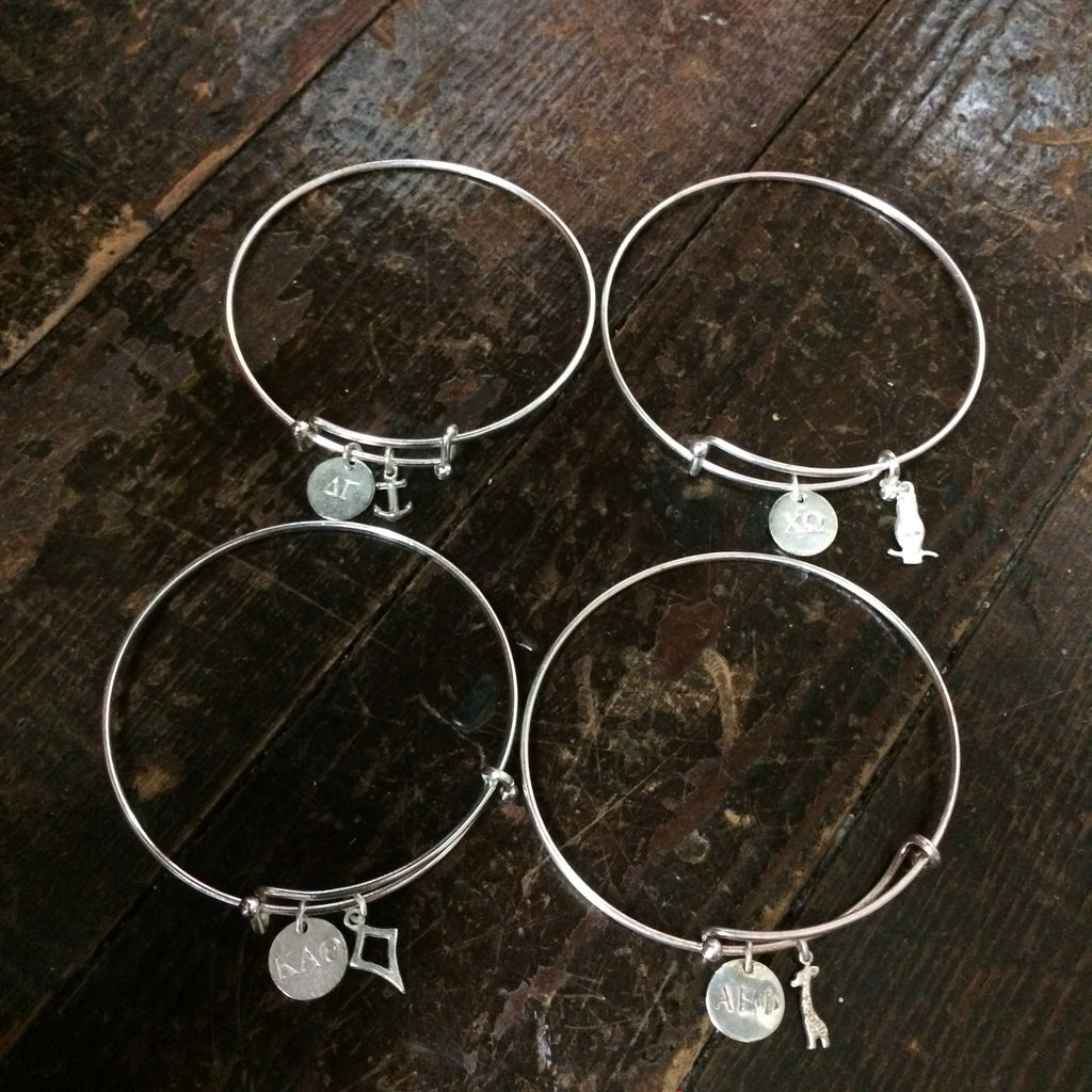 Sorority Charm Bracelet - Silver - Shawn Paul Jewelry - Campus Connection - 1