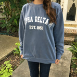 Comfort Colors Crewneck Sweatshirt with Varsity Design - Campus Connection - Campus Connection - 1