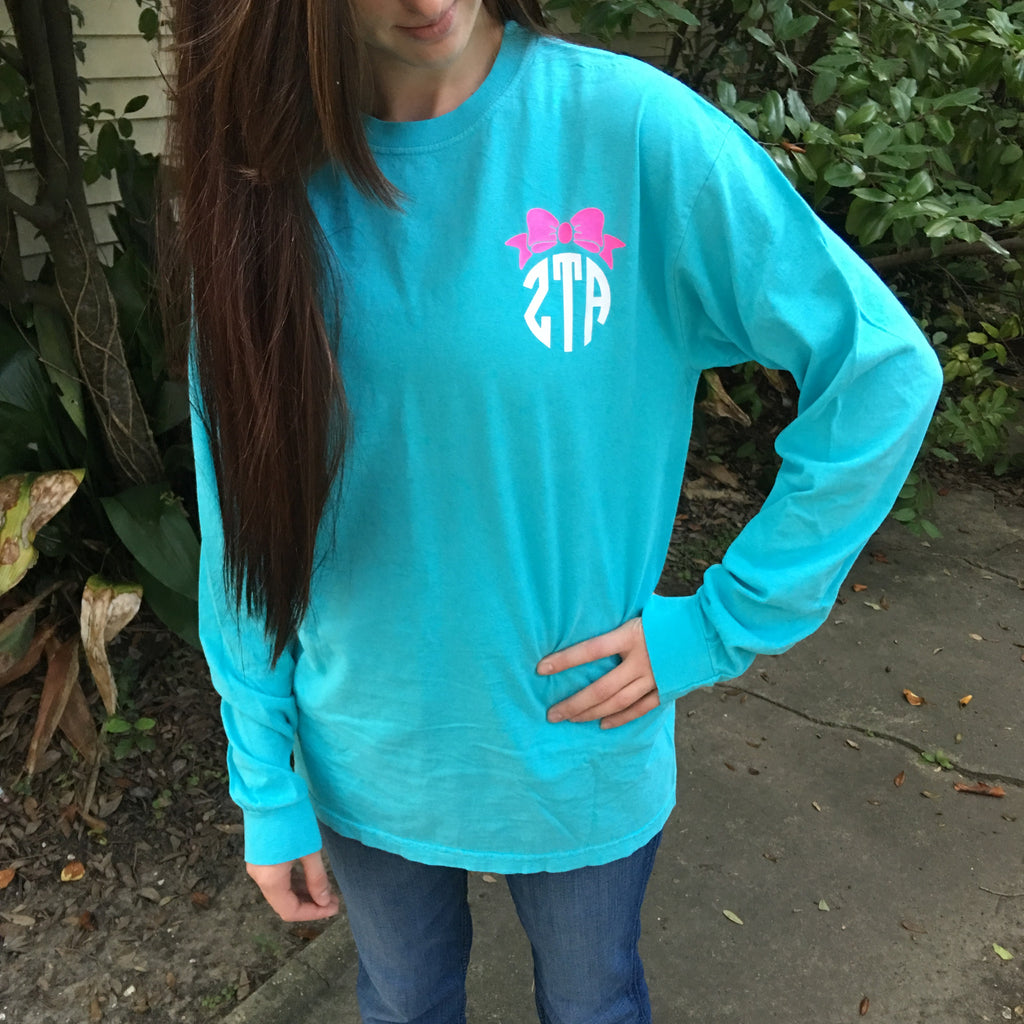 Monogrammed Comfort Colors Long Sleeve - Campus Connection - Campus Connection - 1