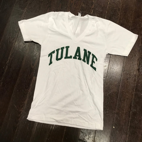 Tulane American Apparel V-Neck - White