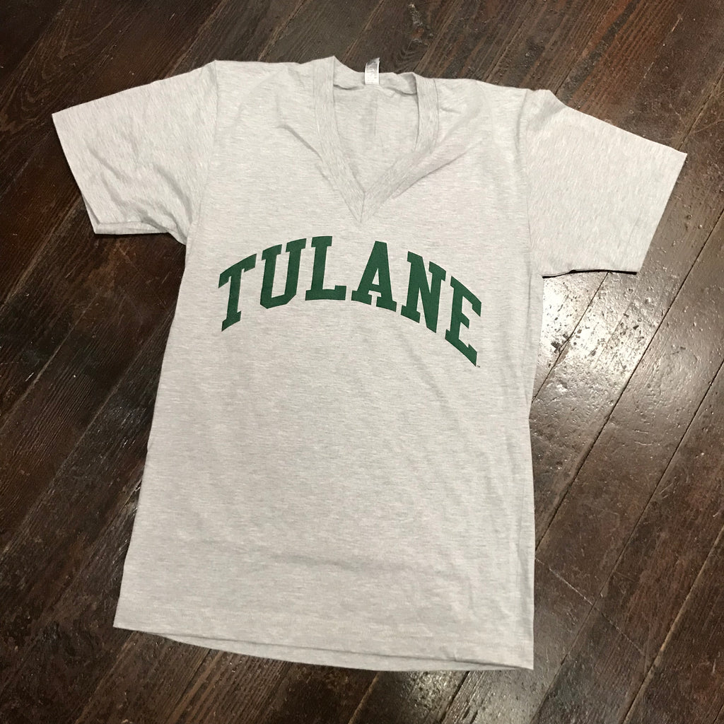 Tulane American Apparel V-Neck - Gray
