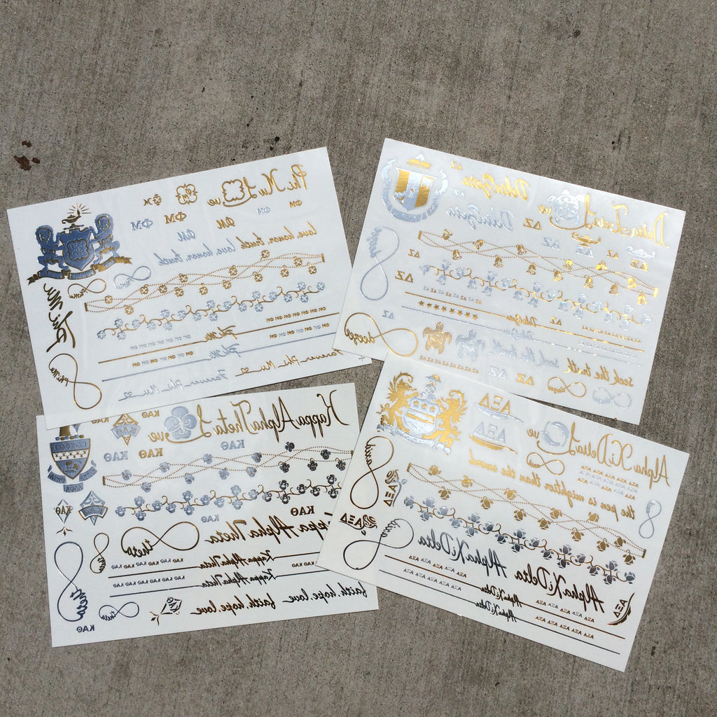 Sorority Metallic Flash Temporary Tattoo Sheets - A-List - Campus Connection - 1