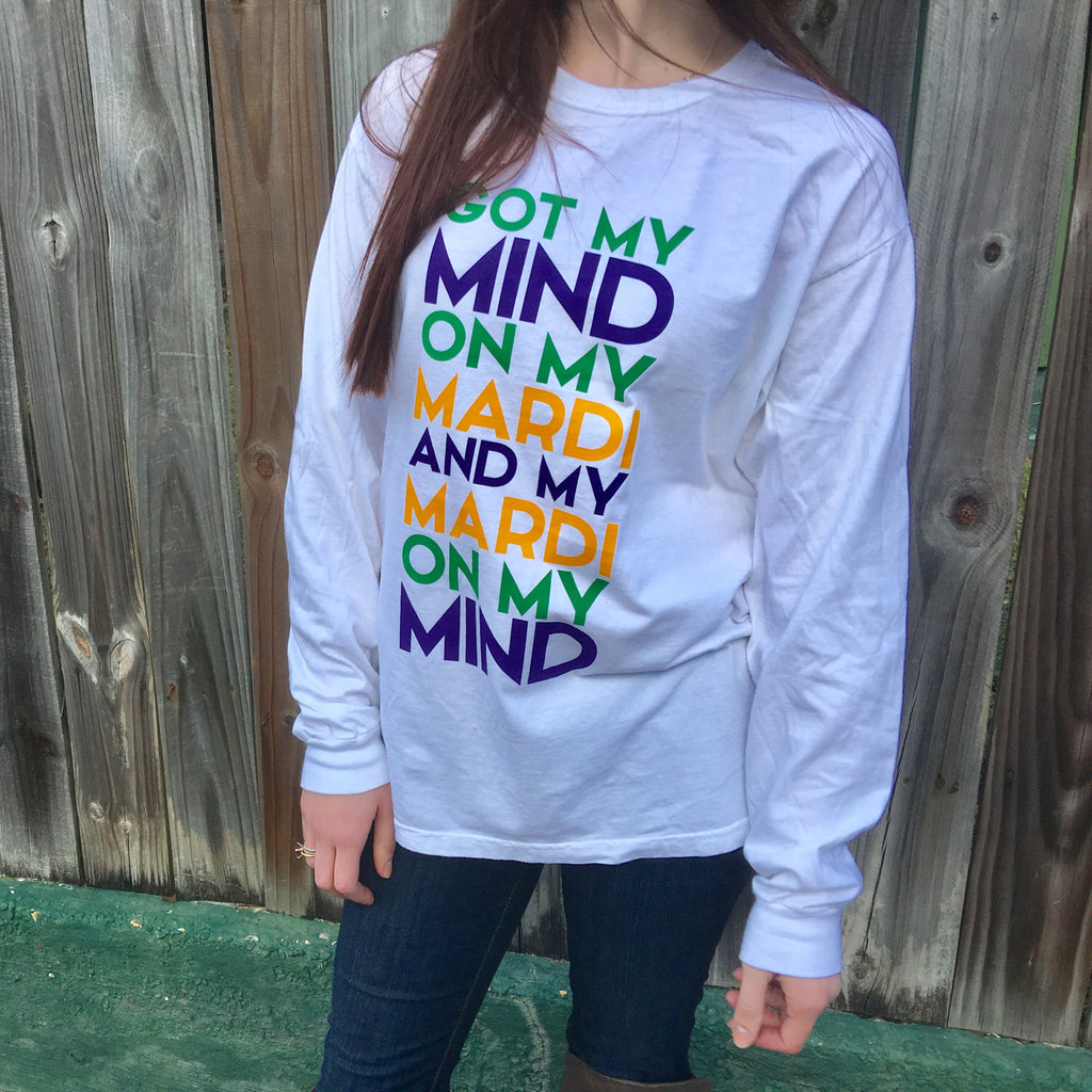 Mind on my Mardi Gras Comfort Colors Long Sleeve - Campus Connection - Campus Connection - 1