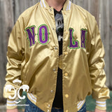 NOLA New Orleans Gold Satin Mardi Gras Jacket