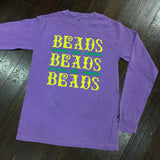 Beads on Beads Mardi Gras Comfort Colors Long Sleeve - Violet - Campus Connection - Campus Connection