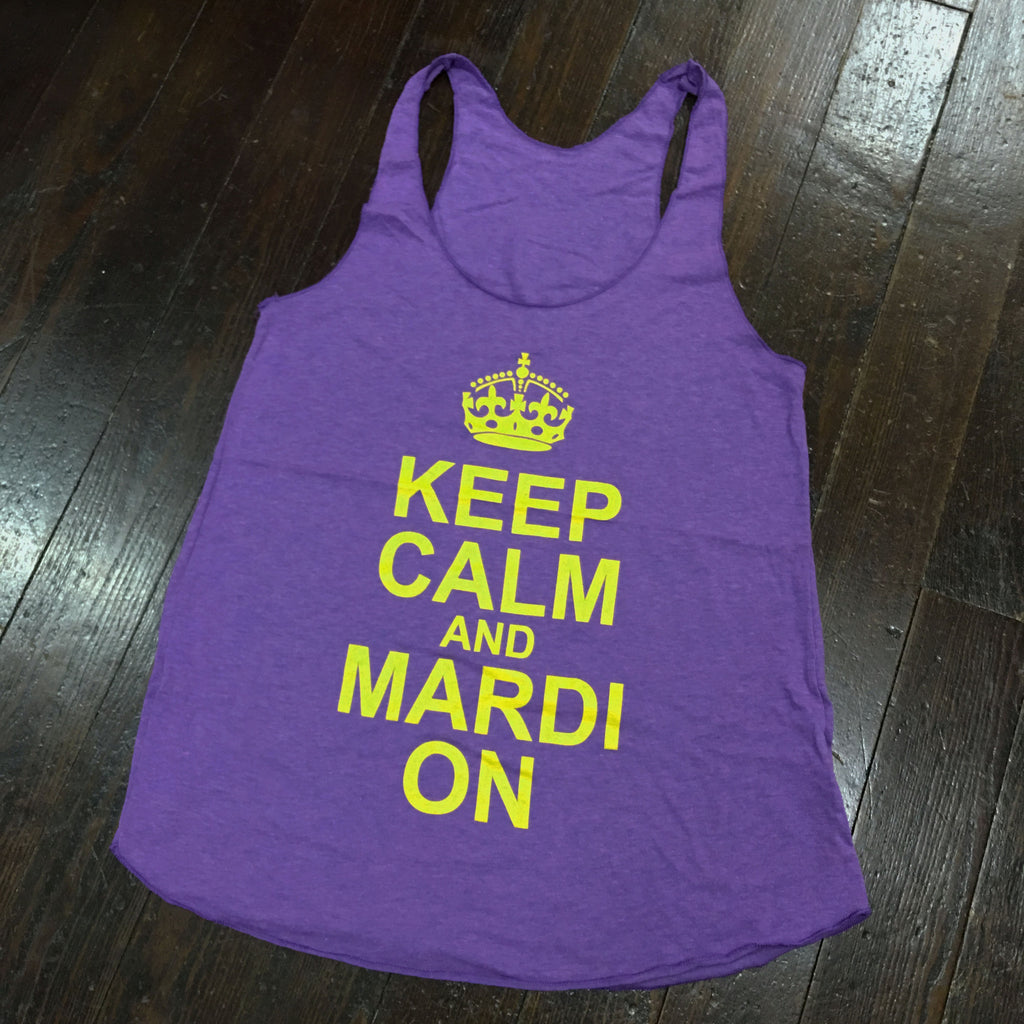 Keep Calm and Mardi On American Apparel Racerback - Purple - Campus Connection - Campus Connection