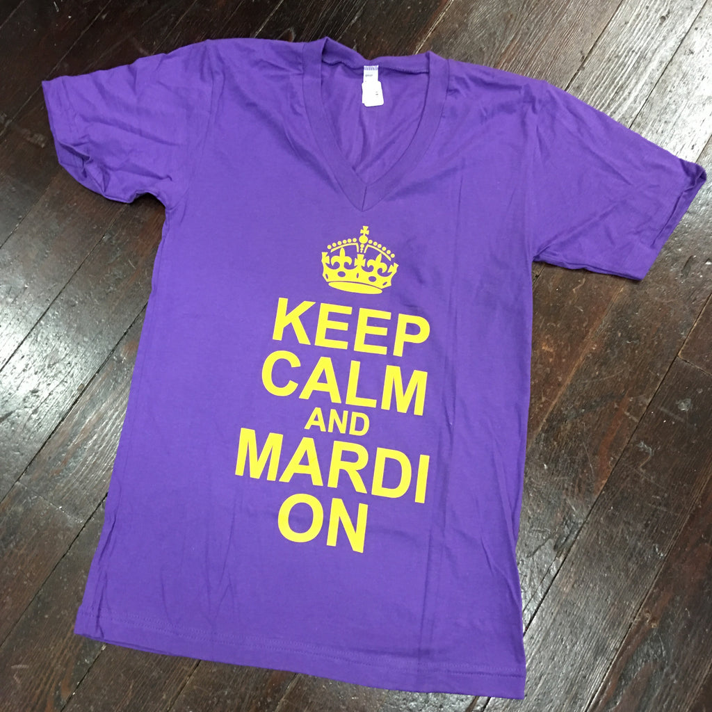 Keep Calm and Mardi On American Apparel V-Neck - Purple - Campus Connection - Campus Connection