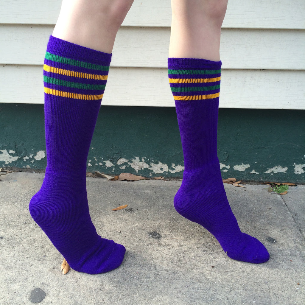 Mardi Gras Striped Knee High Socks - Campus Connection - Campus Connection - 1