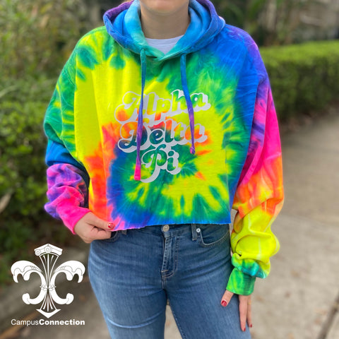 Sorority Tie Dye Cropped Hooded Sweatshirt