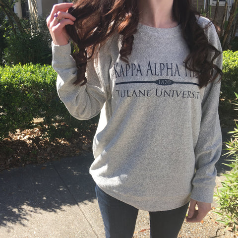Cozy Fleece Sweatshirt with Preppy Bar Design