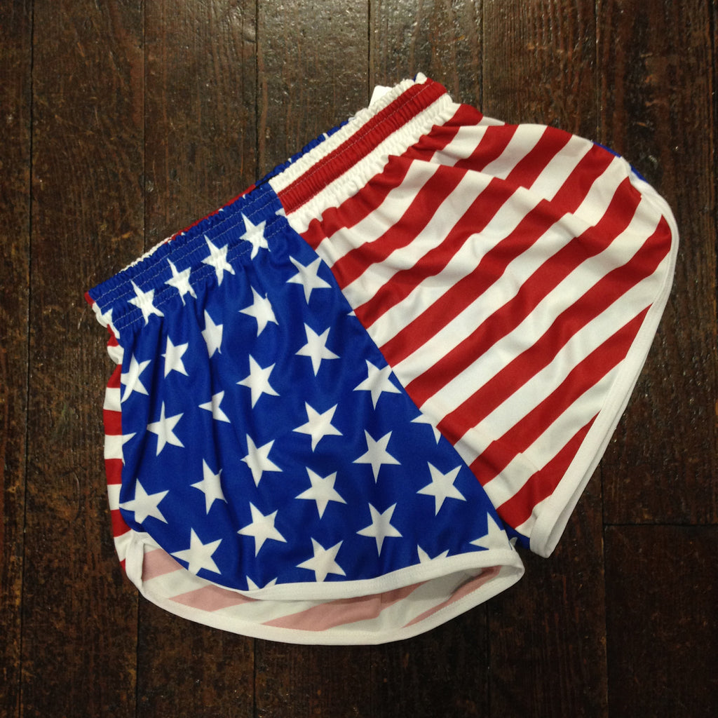American Flag Women's Running Shorts - Fit2Win - Campus Connection