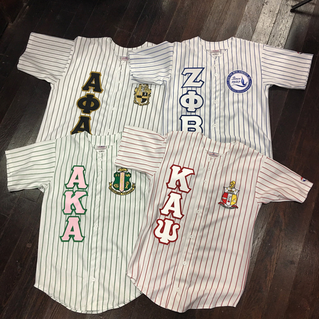 246a70f464a Sewn-Letter Pinstripe Baseball Jersey - Campus Connection - Campus  Connection