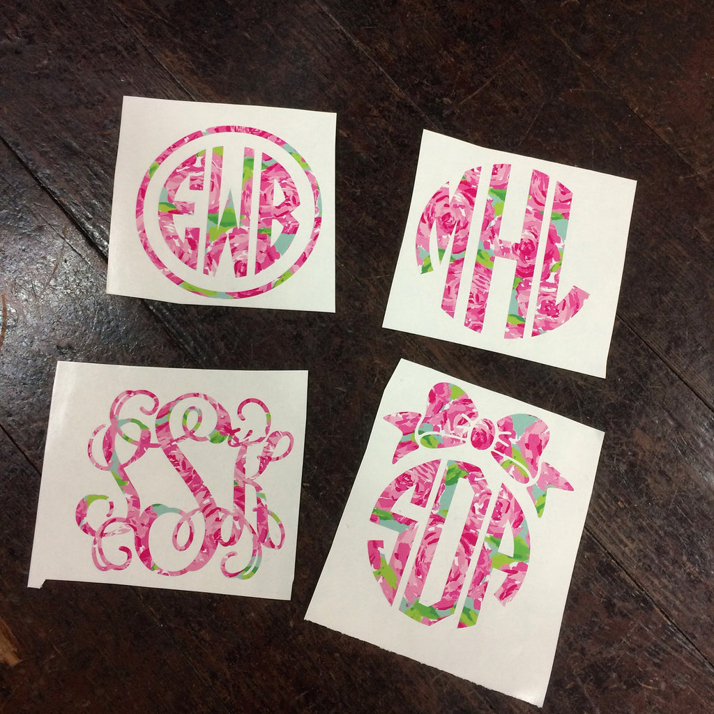 Custom Lilly Pulitzer Monogram Decal Sticker - Campus Connection - Campus Connection - 1