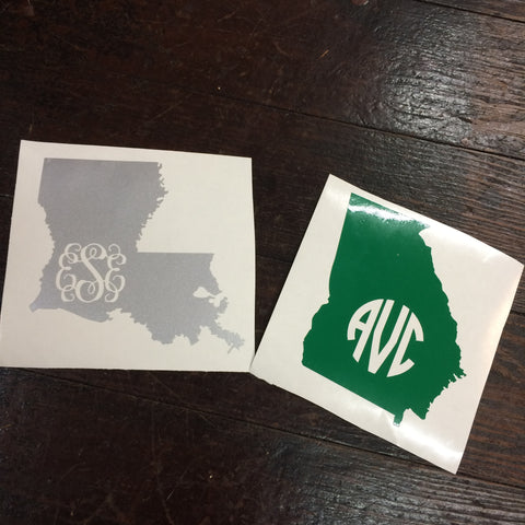 Custom Monogram State Decal Sticker
