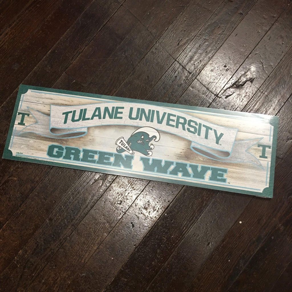 Tulane Green Wave Angry Wave Long Wood Sign - Wincraft - Campus Connection