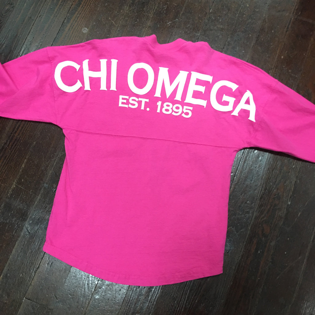 Chi Omega Spirit Jersey - Pink - Spirit Football Jersey - Campus Connection