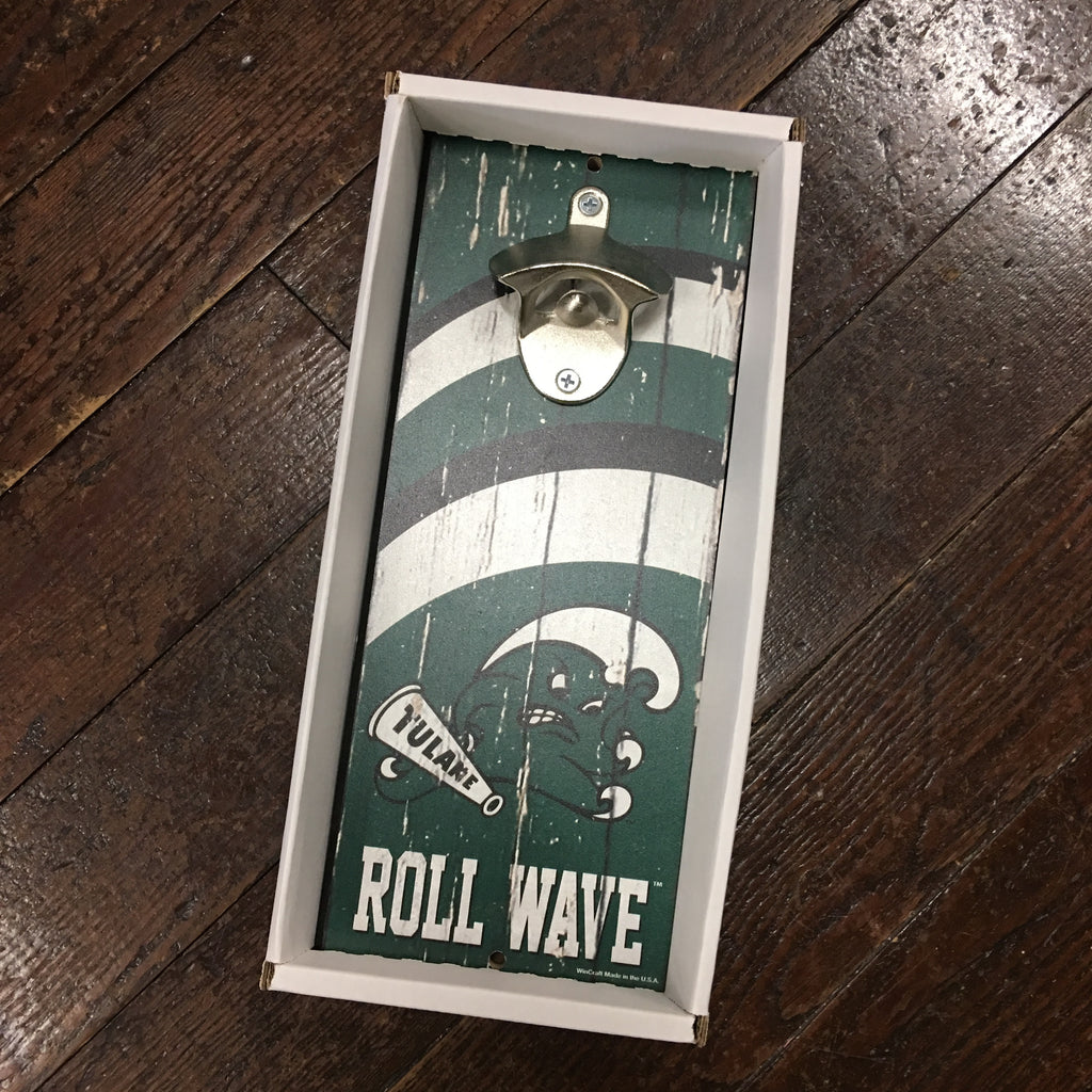 Tulane Angry Wave Wood Bottle Opener Wall Mount