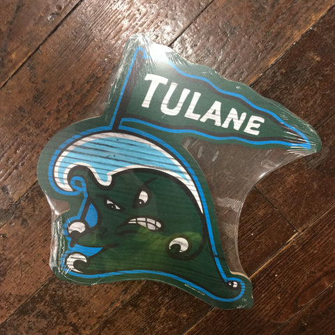 Tulane Angry Wave Wood Sign