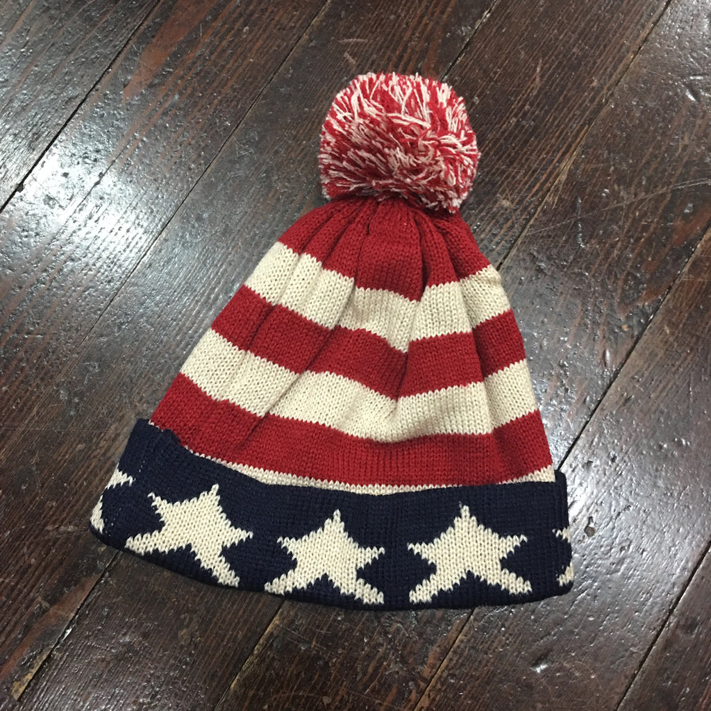 American Flag Knit Pom Pom Beanie - Campus Connection - Campus Connection