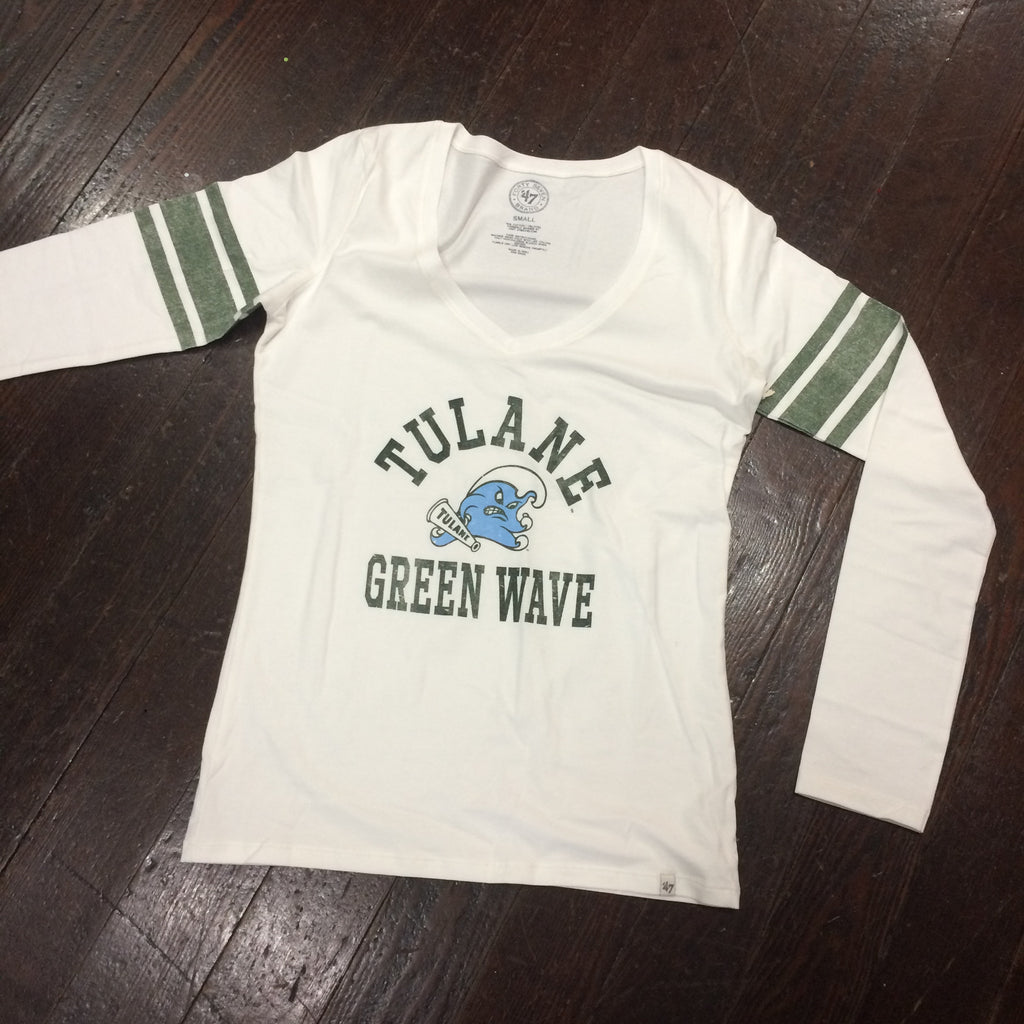 Tulane Homerun Long Sleeve V-Neck - '47 Brand - Campus Connection