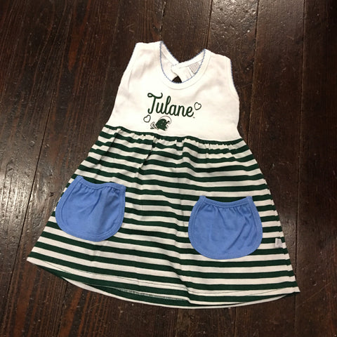 Tulane Angry Wave Girls Striped Skirt Dress