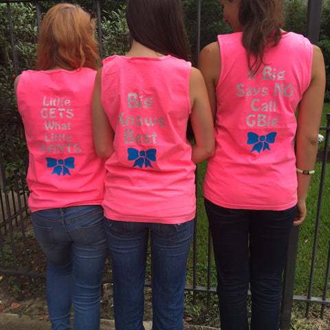 Little Gets What Little Wants, Big Knows Best Family Saying Sorority Bow Comfort Colors Tank Top