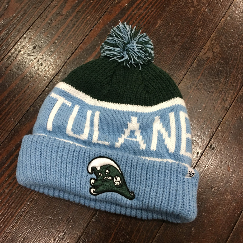 Tulane Angry Wave Vintage Pom Pom Beanie - '47 Brand - Campus Connection