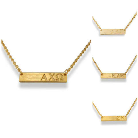 Sorority Bar Necklace - Gold