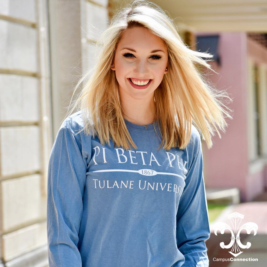 Comfort Colors Long Sleeve Shirt with Preppy Bar Design