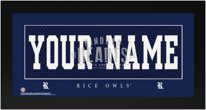 Rice Owls NCAA Jersey Nameplate Custom Framed Sign