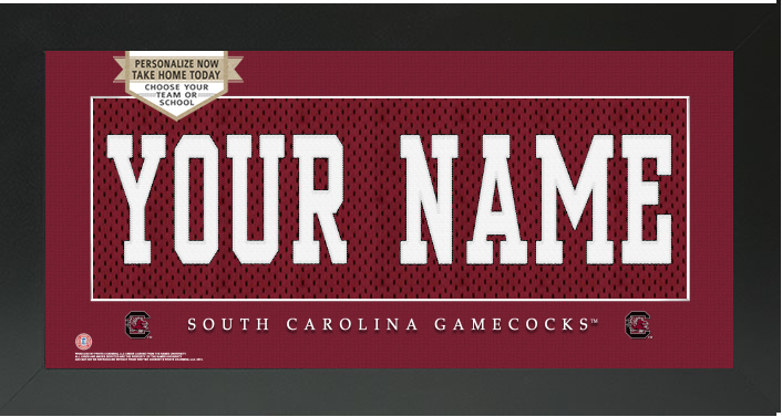 South Carolina Gamecocks NCAA Jersey Nameplate Custom Framed Sign