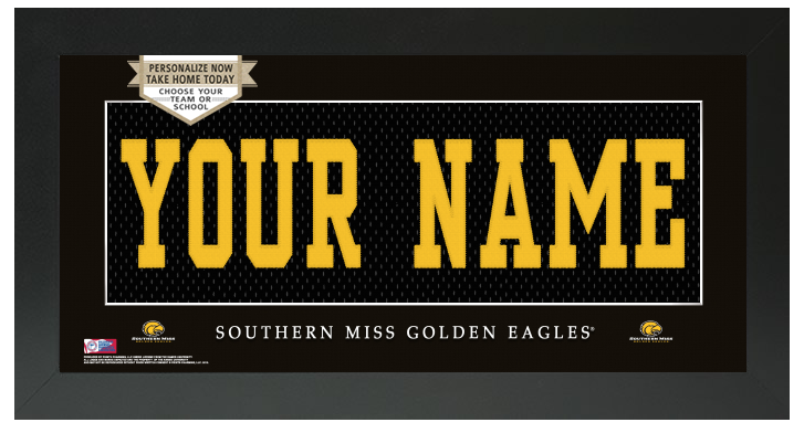 Southern Miss Golden Eagles NCAA Jersey Nameplate Custom Framed Sign