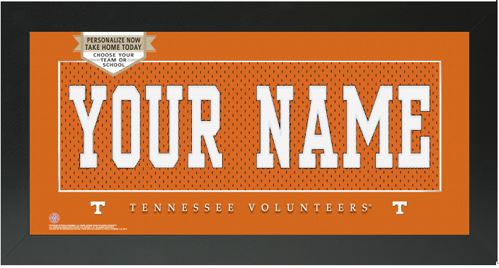 Tennessee Volunteers NCAA Jersey Nameplate Custom Framed Sign