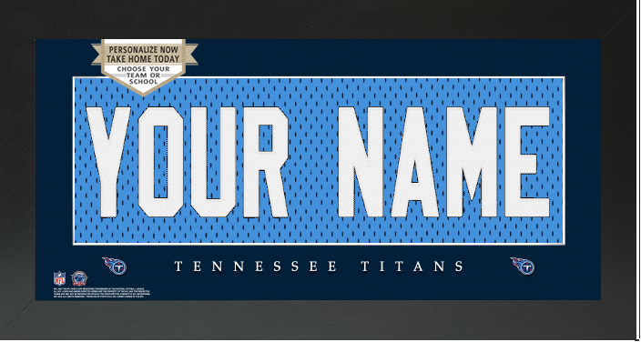 Tennessee Titans NFL Jersey Nameplate Custom Framed Sign