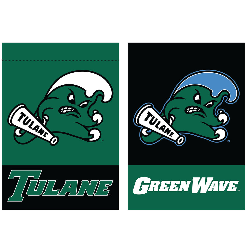 Tulane Angry Wave 2-Sided Vertical Flag