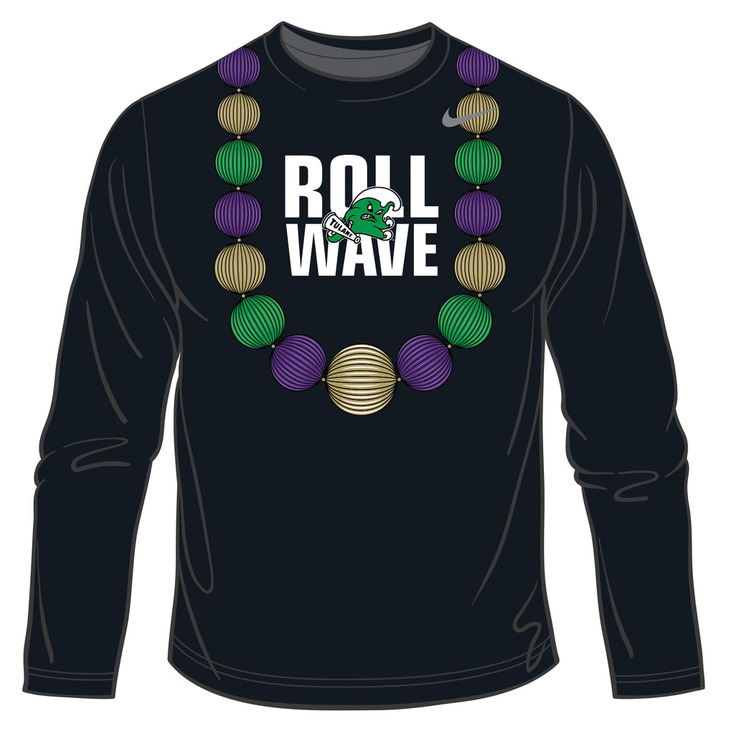 Tulane Takeaway Beads Nike DriFit Long Sleeve Shirt