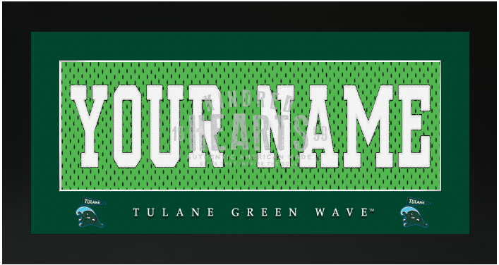 low priced 75e7c 90a91 Tulane Green Wave NCAA Jersey Nameplate Custom Framed Sign