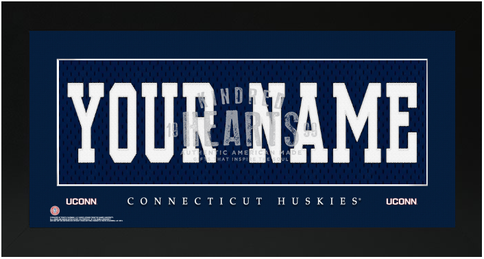 UCONN Huskies NCAA Jersey Nameplate Custom Framed Sign