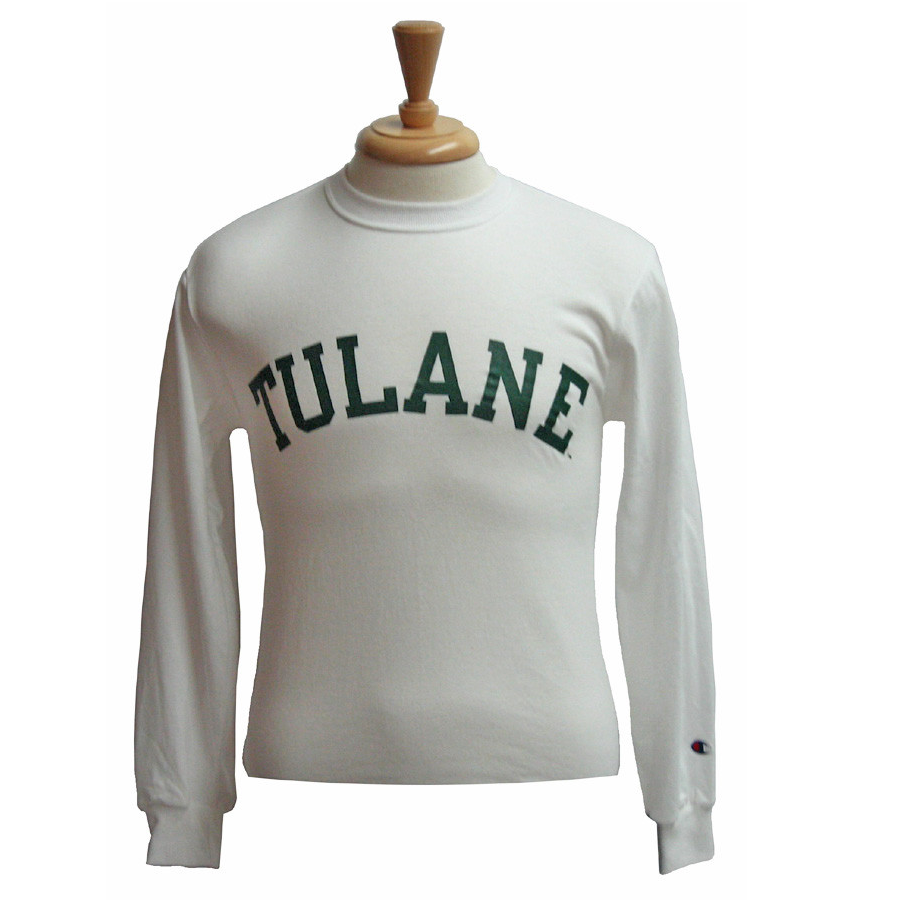 Basic Tulane Long Sleeve T-Shirt White - Champion - Campus Connection