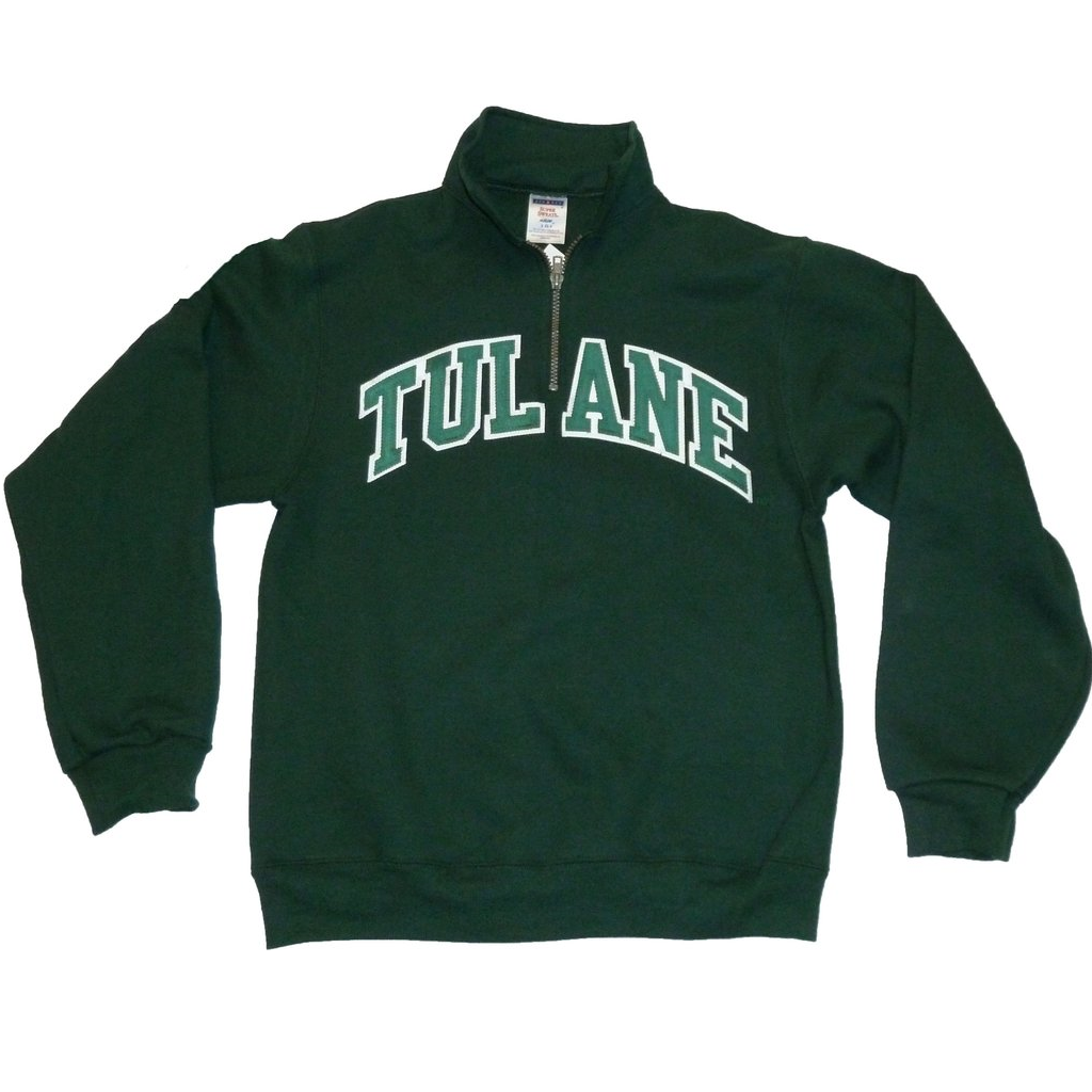 Tulane Quarter Zip Sweatshirt Green - Campus Connection - Campus Connection