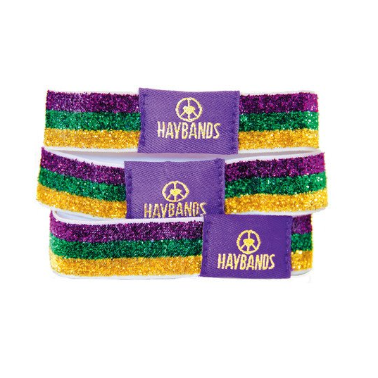 Mardi Gras Purple, Green, and Gold Triglitter Hair Ties - Haybands - Campus Connection