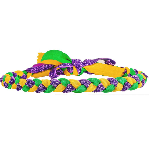 Mardi Gras Braided Haylo Headband With Purple Glitter